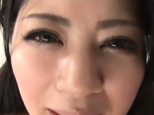 Fucked asian babe gets creampie