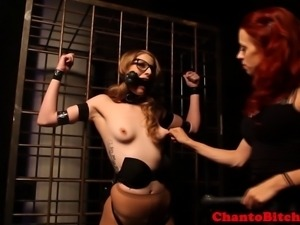 Lezdom blonde skank being punished by kinky dominatrix