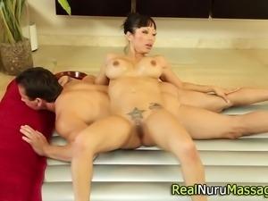 Asian masseuse tit fucks and sucks cock in hd