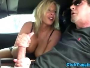 Bigtit brunette MILF tugging hard cock