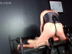 Big ass mistress in latex face sitting his sex slave and torturing his dick