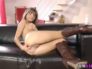 Petite euro teen in boots gets ass fucked hard by old man