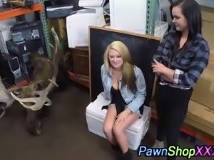 Real sluts sucking tits in back of pawn shop