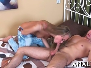 Hunk is shoveling his hard cock into babes cunt and butt hole