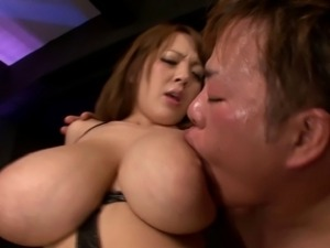 Asian with monster big tits being smashed by a guy