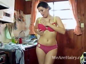 Amber is done with the dishes and bends over to show her sexy ass. She...