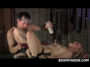 Bound blonde pussy clamped toyed and fisted very deep