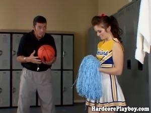 Brunette cheerleader fucks and sucks her coaches hard cock