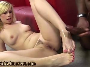 Sluts white feet cum dripping from black dick footjob