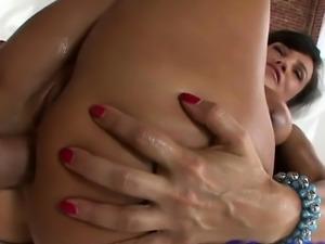 wild hot brunette milf drilled in her ass