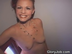 Weathered and aging red headed Vegas show girl sucking strangers dick at...