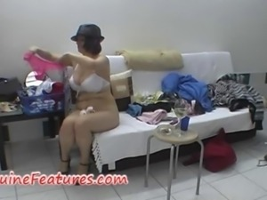 Busty girl in hot backstage clip
