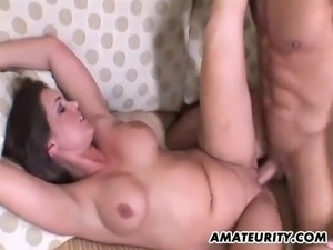 A busty amateur brunette Milf homemade hardcore action with blowjob and fuck...