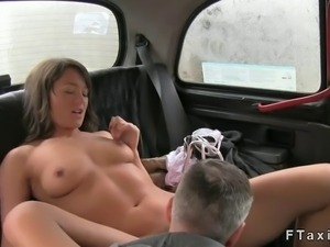 Beautiful British amateur babe gets pussy licked by fake taxi driver in his...