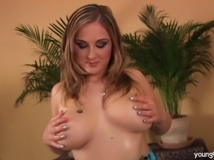Young blonde babe Denice gets big tits fucked and jizzed by a large shaft