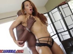Black cock fucks dirty big cock loving white slut nice and deep