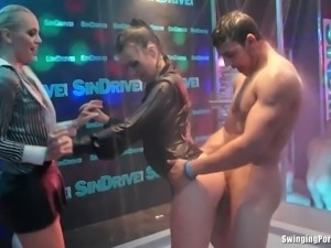 Amazing nympho fucking large schlongs in club