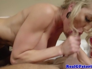 Hot blonde housewife milf pounded and facially rewarded
