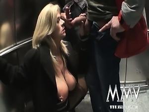 Mature blonde slut getting fucked in the elevator
