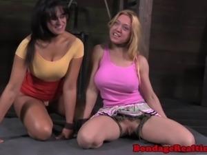 BDSM fetish blonde sub Darling makes out with slave Penny Barber