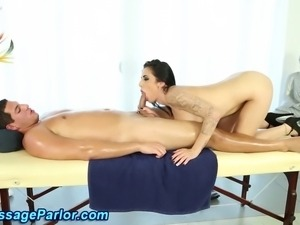 Masseuse gets cumshot in mouth after sucking cock and getting licked