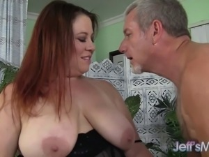 Plumper mom is teased and has her tits groped before sucking cock. Then she...
