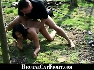 Pervert man cause a hard catfight