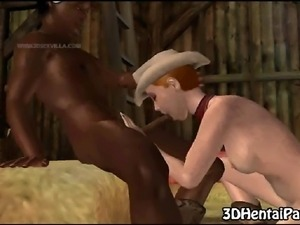 Mouth watering 3D cartoon cowgirl hottie sucks cock and gets fucked by a...