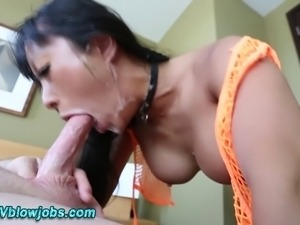 Asian deep throat loving fetish skank eats pov pole in high def