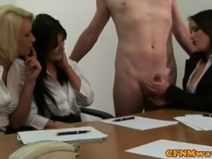 CFNM office whores jerking his cock