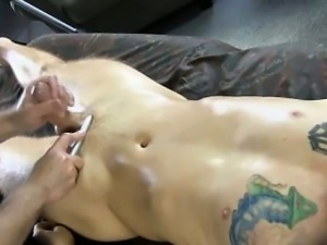 Tattooed straight amateur cock massaged