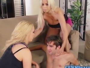 Bridgette B and Nikki Benz sucking cock