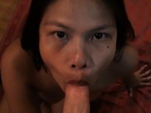 Amateur Asian Khate Gobbles White Dick