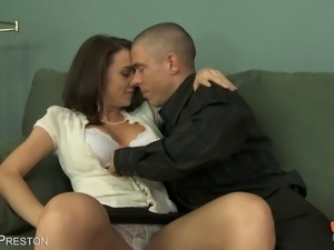 Gorgeous brunette gets seduced on the couch before her ANAL POUNDING!