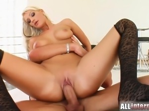 This sweet blonde gets her little pussy fucked. A bit load of cum oozes out...