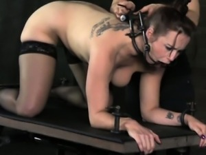Mouth spider gagged skank gets punished