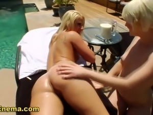 Sexy outdoor fetish les getting milk enema in hd