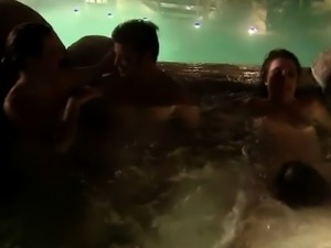 2 Horny couples fuck in the jacuzzi in this swingers reality