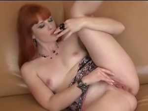 Red head slut Genny Red fingers wet cunt