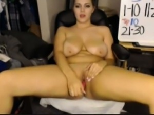 Busty Webcam Girl Dildos Her Pussy