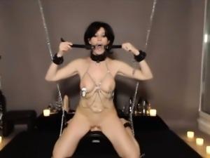Hot tied up BDSM raven slave Heather rides