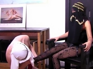 American Mistress shows Arab Slave how to worship his goddess.