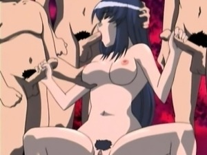Hentai girl gets fucked rough in gangbang