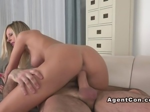 Blonde amateur rode cock on casting on camera