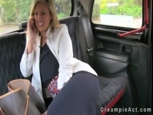 Huge tits business woman fucks and gets creampie in fake taxi free