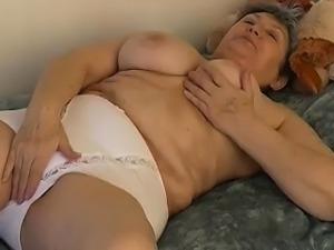 OmaPass Granny with big tits masturbate hairy granny pussy