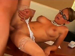 Four eyed slim MILF Holly West is a hot elegant woman in sheer stockings and...