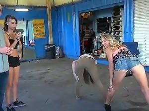 Sexy strip tease by teen blonde next door