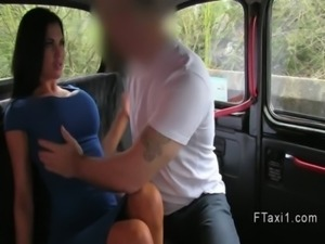 British busty amateur blowjob in fake taxi in public free