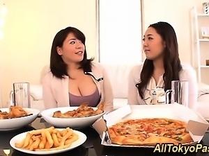 Busty asian lesbian eaten